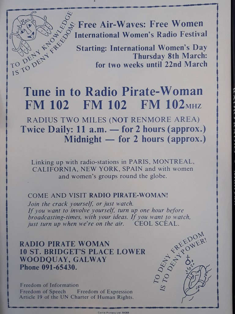 Aircheck: Women's Scéal Radio/Radio Pirate Woman (Galway)